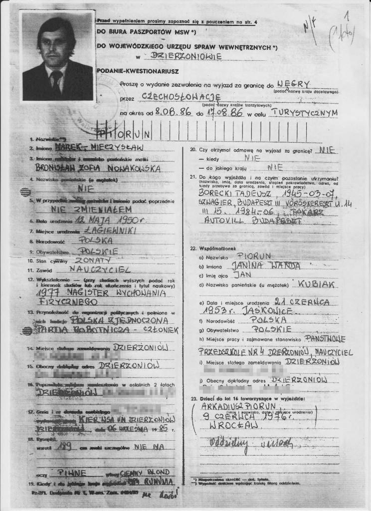 Marek Piorun wniosek paszport strona 1