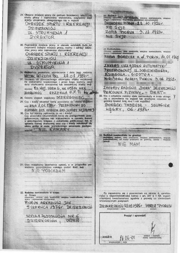 Marek Piorun wniosek paszport strona 2