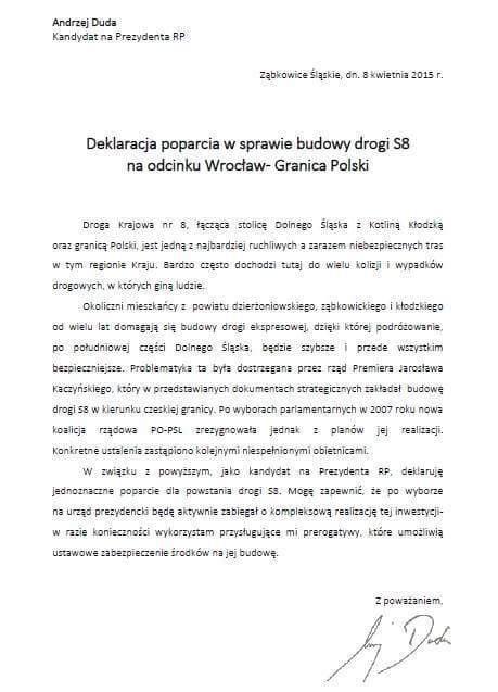 Deklaracja poparcia w sprawie budowy drogi S8 na odcinku Wrocław - Granica Polski