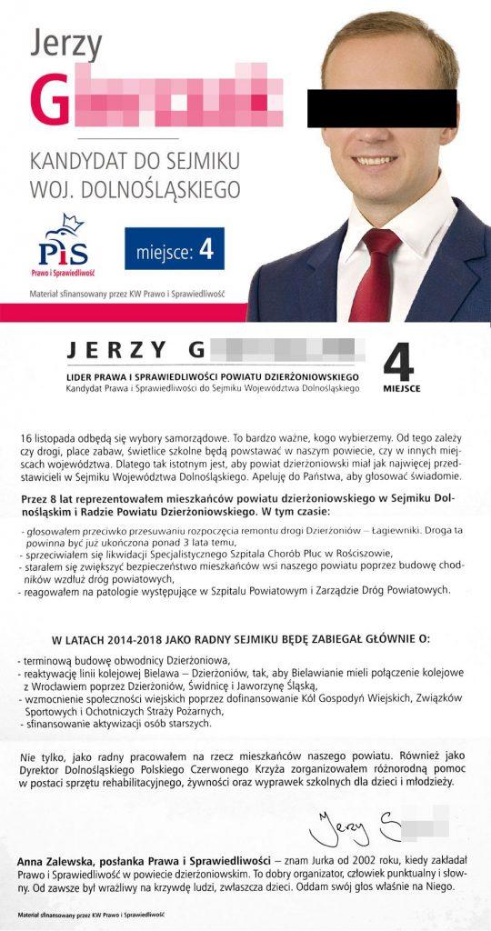 Jerzy G. ulotka wyborcza